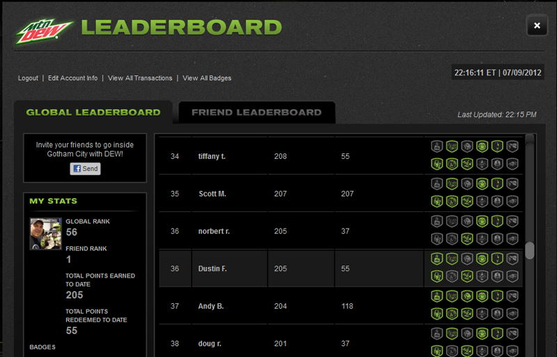 Mountain Dew Leaderboard