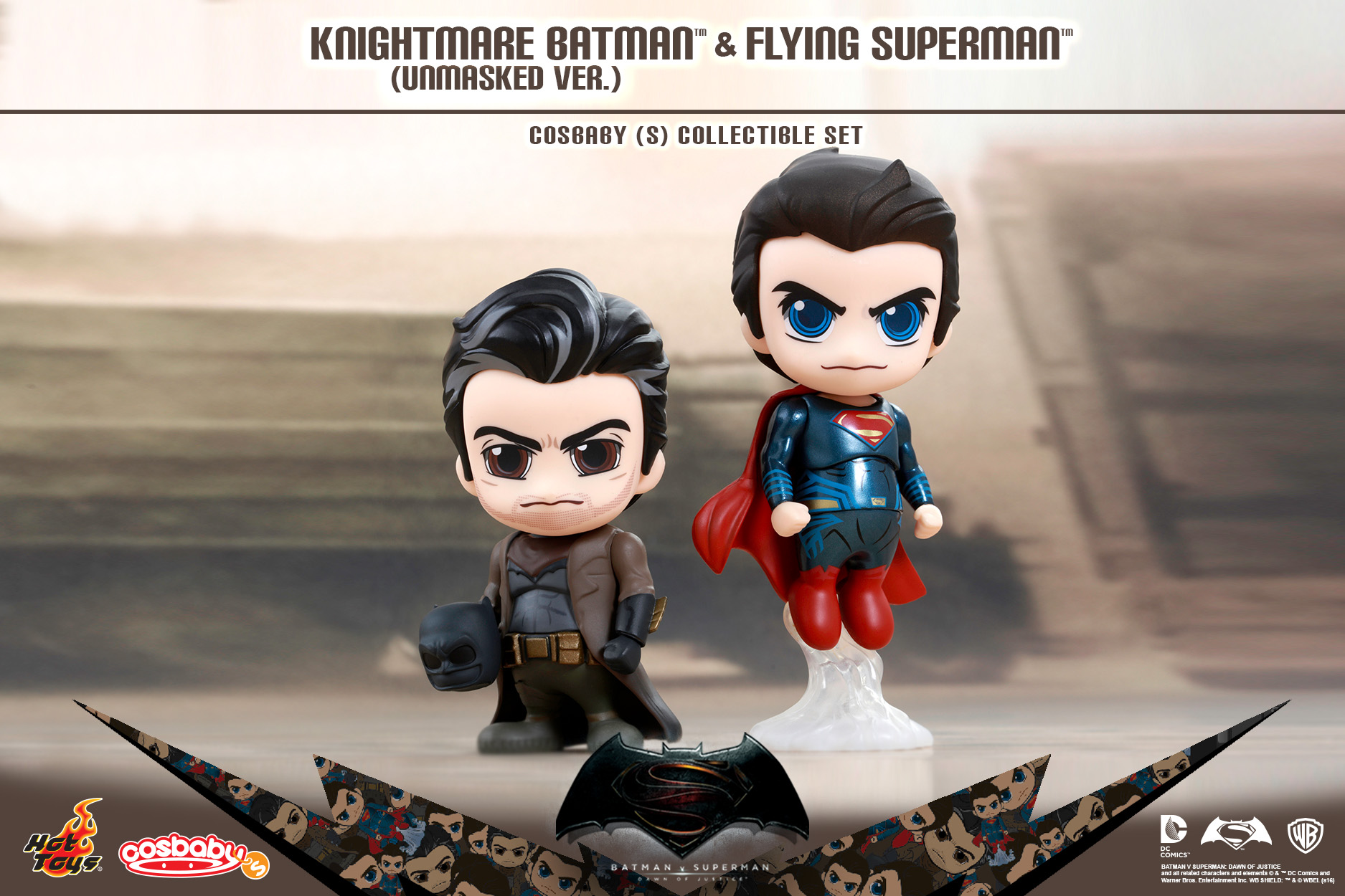 Batman v Superman: Dawn of Justice – Knightmare Batman (Unmasked Version) and Flying Superman Cosbaby Collectible Set