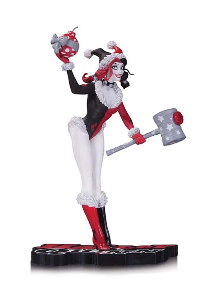 HARLEY QUINN: RED, BLACK AND WHITE HOLIDAY STATUE $80