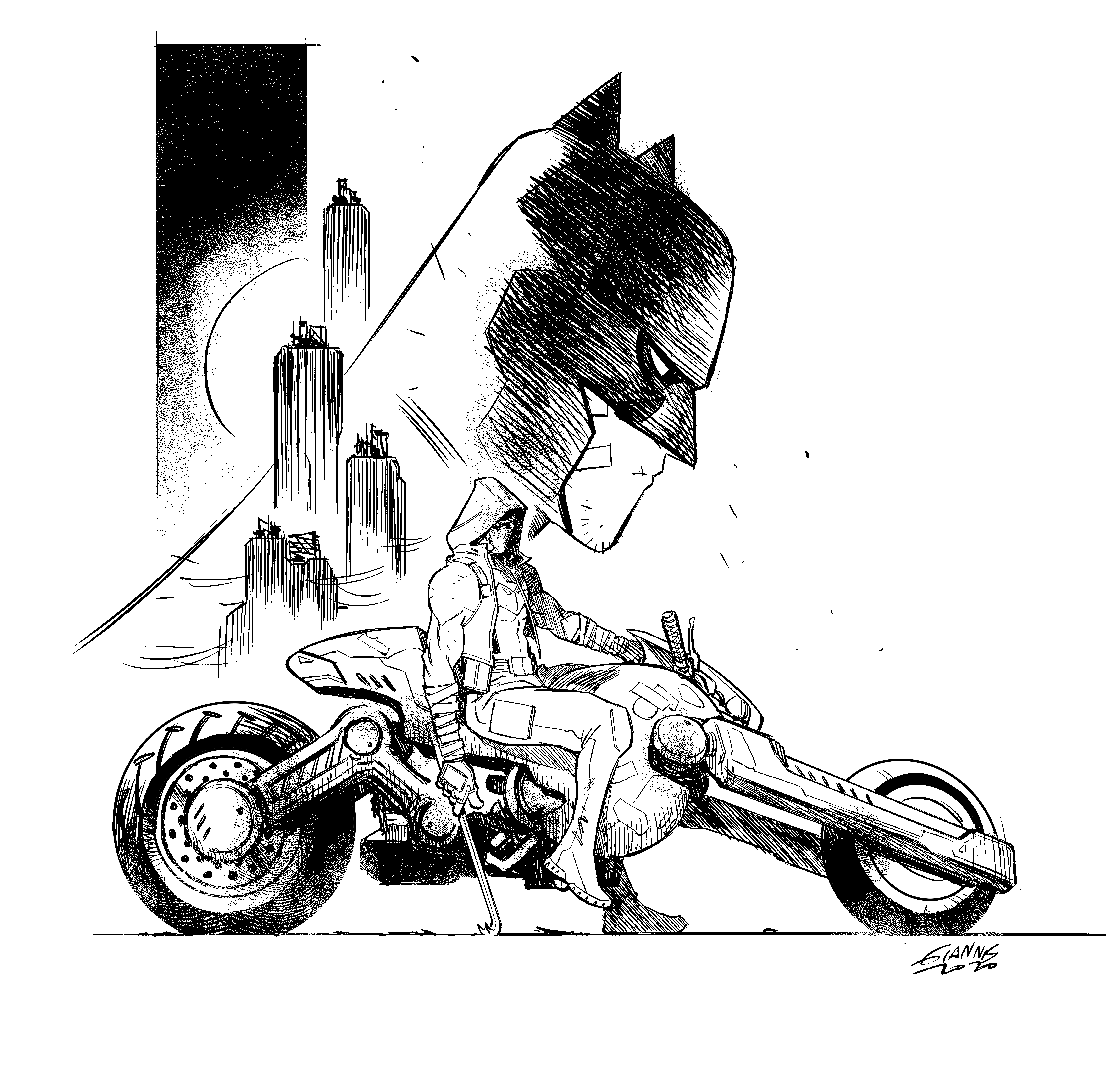 Future State Red Hood sketch by Giannis Milonogiannis