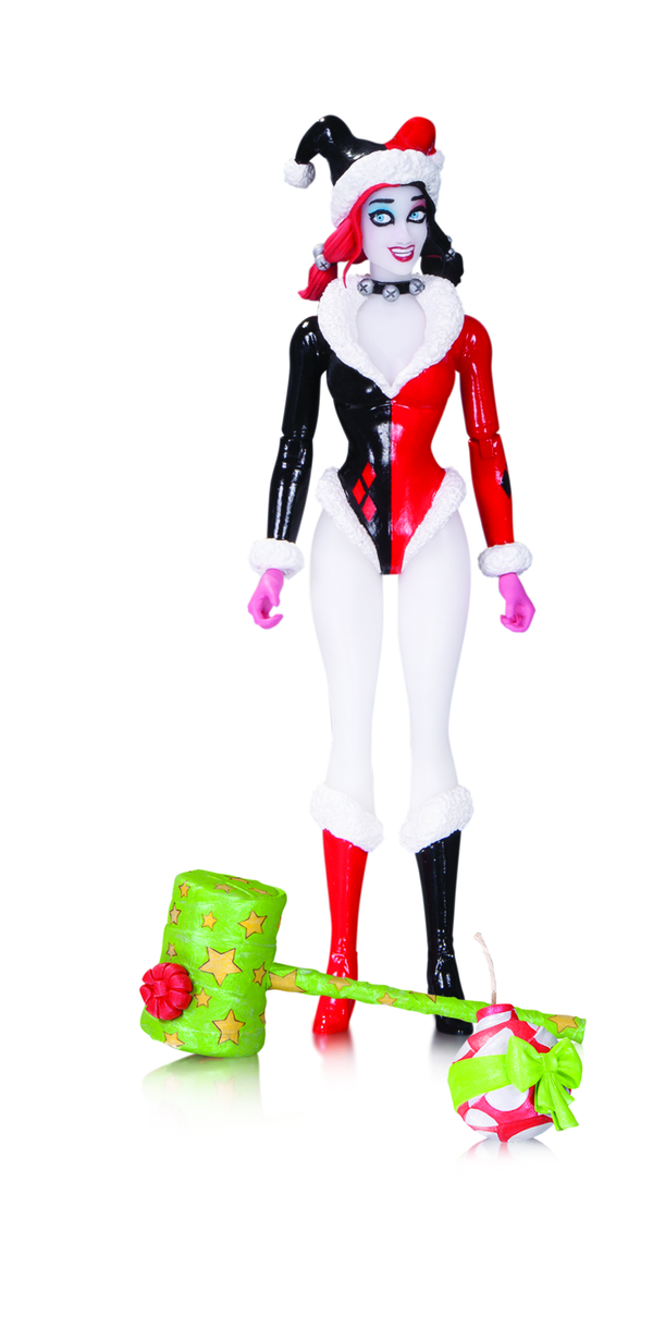 "DC COMICS DESIGNER SERIES: AMANDA CONNER HARLEY QUINN ACTION FIGURES HOLIDAY HARLEY QUINN – 7.05"" (WITH HAMMER AND BOMB) $28"