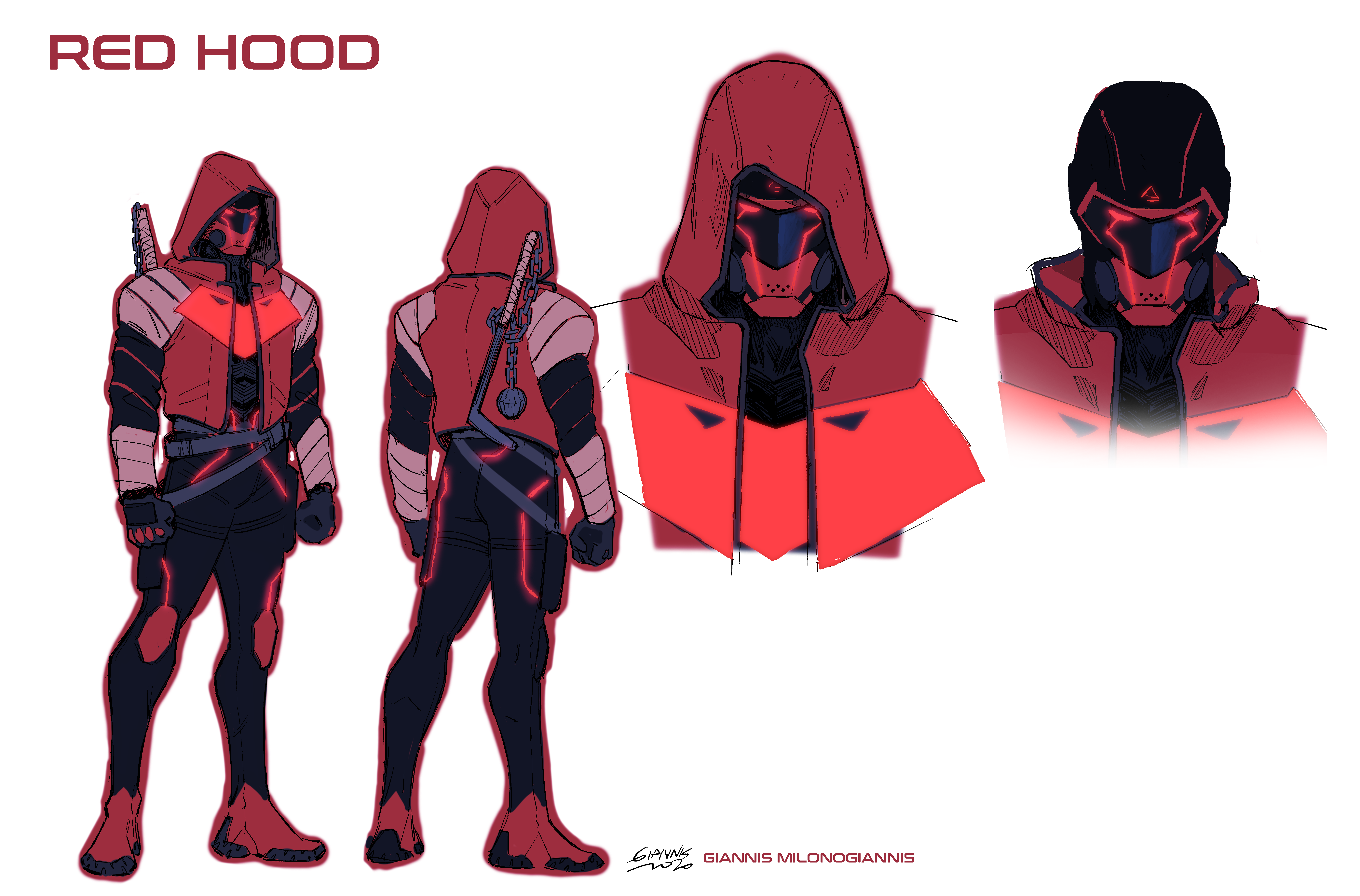 Future State Red Hood concept art by Giannis Milonogiannis