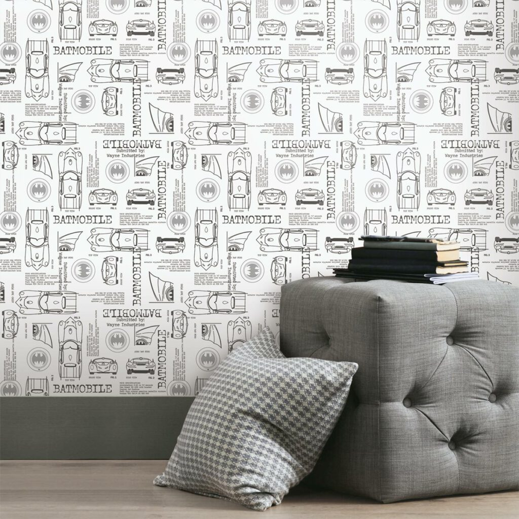 RoomMates Batman Batmobile Blueprint on White Peel and Stick Wallpaper